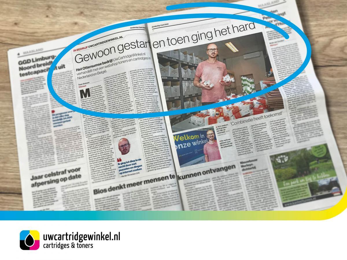 Artikel Gelderlander UwCartridgeWinkel.nl