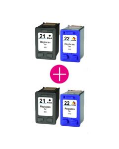 2 x Huismerk HP 21XL zwart + HP 22XL kleur