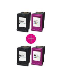 2 x Huismerk HP 301XL zwart + kleur