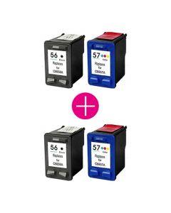 2 x Huismerk HP 56XL zwart + HP 57XL kleur
