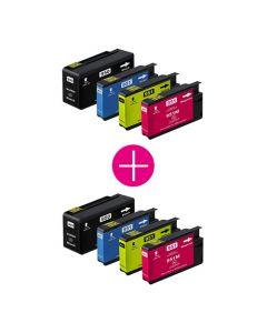2 x Huismerk HP 950XL + HP 951XL multipack zwart + 3 kleuren incl. chip