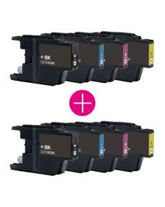 2 x Huismerk Brother LC-1240 multipack zwart + 3 kleuren