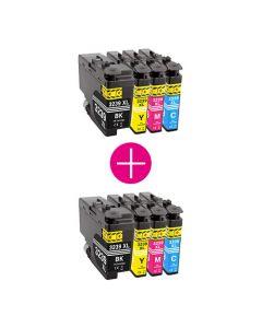 2 x Huismerk Brother LC-3239XL multipack (zwart + 3 kleuren)