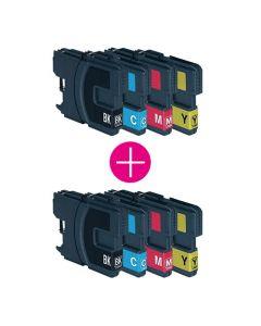 2 x Huismerk Brother LC-980 XL multipack (zwart + 3 kleuren)