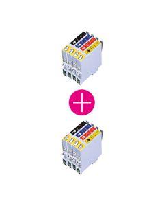 2 x Huismerk Epson T0445 multipack zwart + 3 kleuren incl. chip