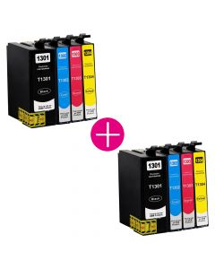 2 x Huismerk Epson T1305 multipack (zwart + 3 kleuren)